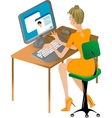 Girl at computer vector image vector image