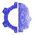 cyborg gear grunge textured icon vector image
