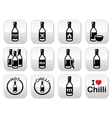 Hot chilli sauce bottle buttons set vector image