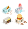 Restaurant cafes and fast food shop icons vector image