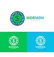 world and dollar logo combination vector image