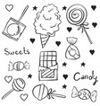 doodle of candy hand draw various vector image