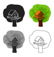 tree house icon in cartoon style isolated on white vector image