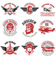 set of air force airplane show flying academy vector image