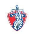 Statue of Liberty Raising Justice Scales Retro vector image