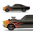 muscle car with flames vector image