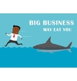 Manager running away from big business shark vector image vector image