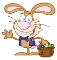 Waving Bunny With Easter Eggs And Basket vector image vector image