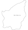 Black White San Marino Outline Map vector image vector image