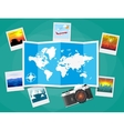 Travel photos with camera and map vector image