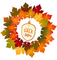 autumn label and leaf border vector image