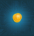 coin bitcoin on the motherboard vector image