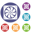 computer fan icons set vector image