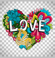 doodle floral heart on transparent background vector image