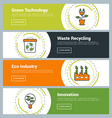 Flat Design Concept Set of Web Banners Green vector image