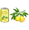 Fresh lemon and lemon soda in can vector image