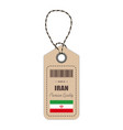hang tag made in iran with flag icon isolated on a vector image