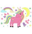 magic unicorn and bird vector image