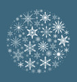 merry christmas card with snowflakes in round vector image
