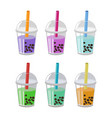 bubble tea or milk cocktail set isolated on white vector image
