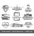Set of vintage insurance labels vector image