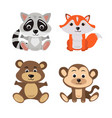 cartoon of seven baby animals racoon vector image