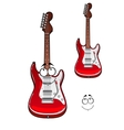 Cartoon smiling red electric guitar character vector image