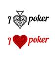 I love poker badges vector image