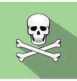 skull with flat style and long shadow vector image