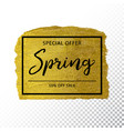 spring sale background on gold sparkle background vector image