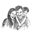 Hand Sketch of happy family Parents and children vector image