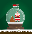 Merry Christmas Santa Claus in snow globe vector image