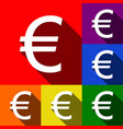 euro sign  set of icons with flat shadows vector image