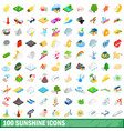 100 sunshine icons set isometric 3d style vector image vector image