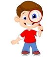 Cartoon a boy and a magnifier vector image vector image