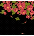 Floral ornament with wild rose on a polka dot vector image