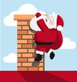 Santa hanging on the chimney vector image