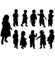 silhouette girls and boys vector vector image