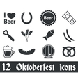 12 Oktoberfest icons set vector image