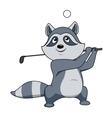 Cartoon funny little raccoon playing golf vector image