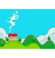 Small house on the hill vector image vector image