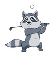 Cartoon funny little raccoon playing golf vector image