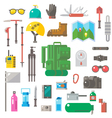 Flat design of hiking equipment set vector image