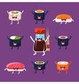 Fun sushi and sashimi Japanese Food with cute vector image