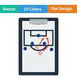 Icon of football coach tablet with game plan vector image