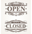 Open and Closed - ornate retro signs vector image