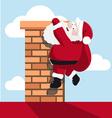 Santa hanging on the chimney vector image