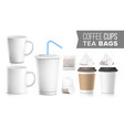 take-out various ocher paper cups tea bags mock vector image