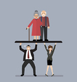 Workers carry Pensioners vector image