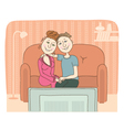 Family watching television in room vector image